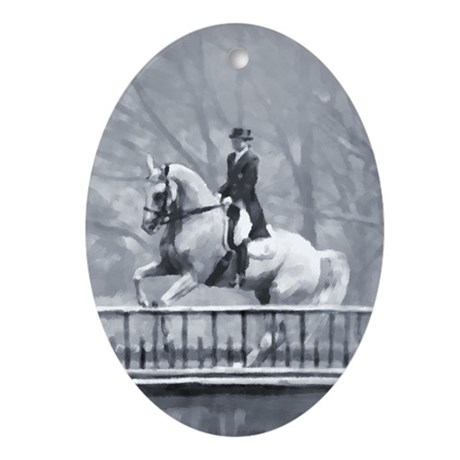 Dressage Horse, Winter Piroue Oval Ornament