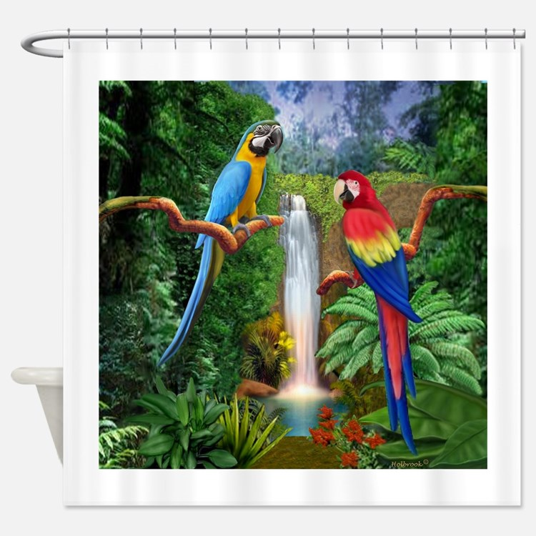 Macaw Tropical Parrots Shower Curtain