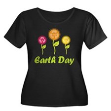 Earth Day Recycle Flowers Plus Size T-Shirt