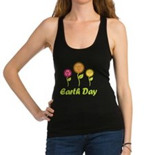 Earth Day Recycle Flowers Racerback Tank Top