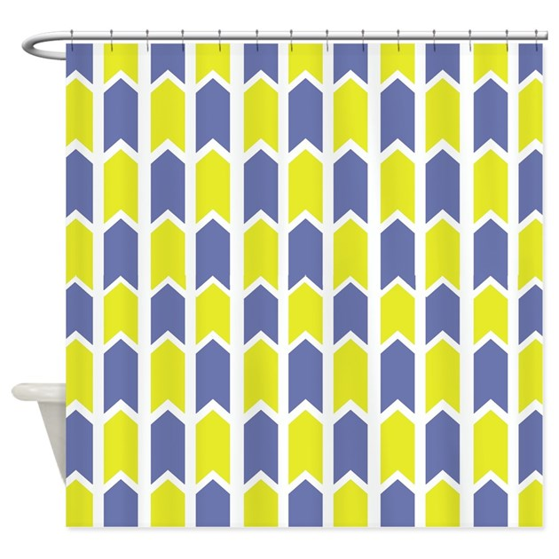 Yellow And Cornflower Blue Panels Shower Curtain By Crazycheckerboards