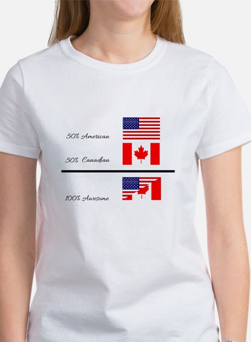 Half Canadian Half American completely awe T-Shirt