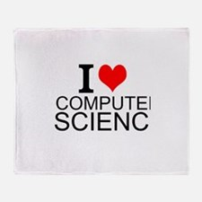 I Love Computer Science Throw Blanket