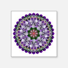 "Cute Purple floral Square Sticker 3"" x 3"""