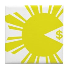 Pacman Eating Money  Tile Coaster