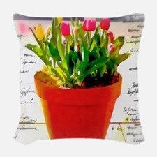 Pot of Tulips Woven Throw Pillow