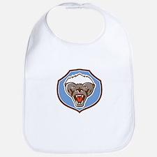 Honey Badger Mascot Head Shield Retro Bib