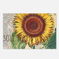 Sunflower Vintage Damask Wallpaper Collage Postcar
