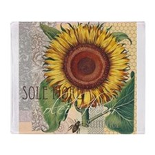 Sunflower Vintage Damask Wallpaper Collage Throw B