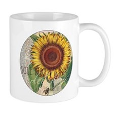Sunflower Vintage Damask Wallpaper Collage Mugs