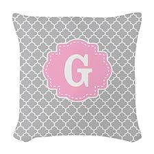 Gray Pink Quatrefoil Monogram Woven Throw Pillow