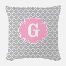 Gray Pink Quatrefoil Monogram Woven Throw Pillow
