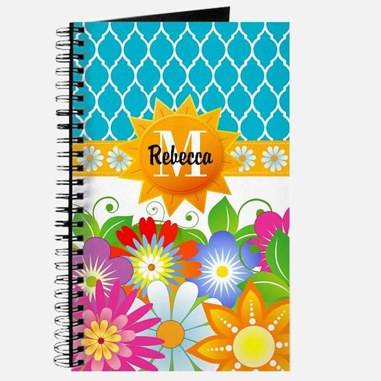 Spring Flowers Monogram Custom Journal