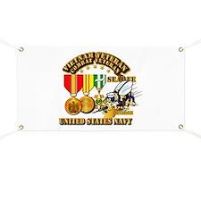 Navy - Seabee - Vietnam Vet - w Medals - Se Banner