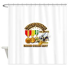 Navy - Seabee - Vietnam Vet - w Med Shower Curtain