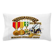 Navy - Seabee - Vietnam Vet - w Medals Pillow Case