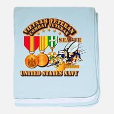 Navy - Seabee - Vietnam Vet - w Medal baby blanket