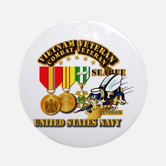 Navy - Seabee - Vietnam Vet - w M Ornament (Round)