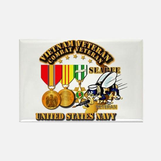 Navy - Seabee - Vietnam Vet - w M Rectangle Magnet