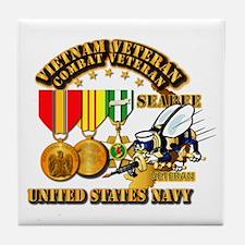 Navy - Seabee - Vietnam Vet - w Medal Tile Coaster