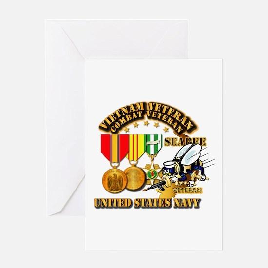 Navy - Seabee - Vietnam Vet - w Meda Greeting Card