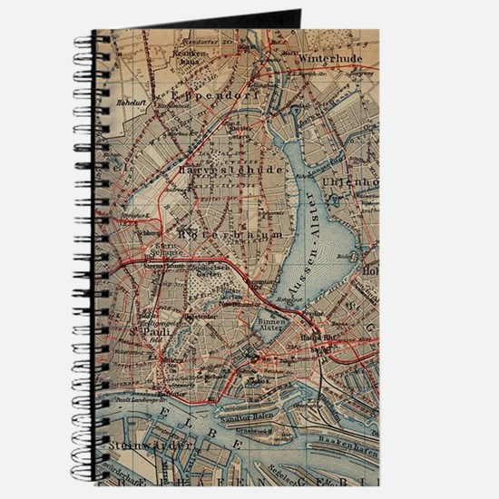 Vintage Hamburg Railway Map (1910) Journal