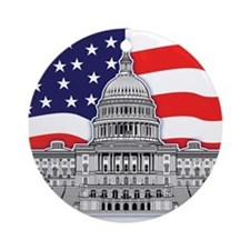 US Capitol Building American Ornament (Round)