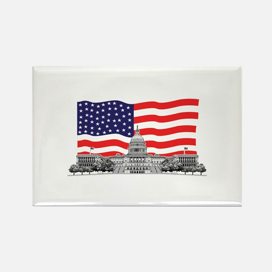 US Capitol Building American Rectangle Magnet