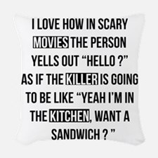 Movies Killer Kitchen Woven Throw Pillow