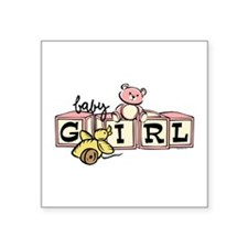 "Baby Blocks Girl Square Sticker 3"" X 3"""