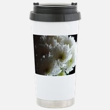 White Chrysanthemum Bou Stainless Steel Travel Mug
