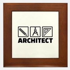 Architect tools compass Framed Tile