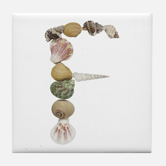 F Seashells Tile Coaster