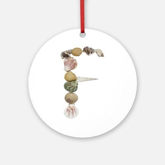 F Seashells Round Ornament