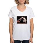 VINTAGE DOG ART: RCA DOG Women's V-Neck T-Shirt