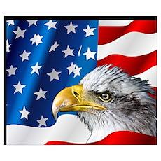 Bald Eagle On American Flag Poster