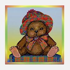 PLAID TEDDY BEAR Tile Coaster