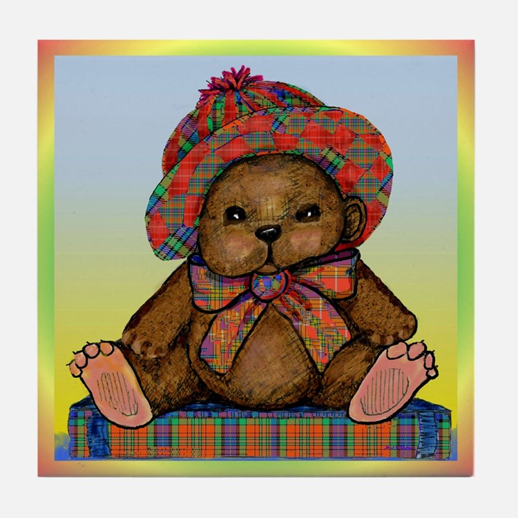 PLAID TEDDY BEAR Tile Coaster