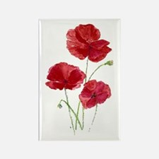 Watercolor Red Poppy Garden Flower Magnets