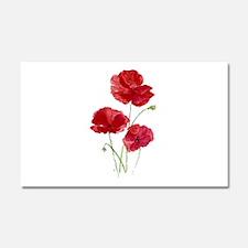 Watercolor Red Poppy Garden Flower Car Magnet 20 x