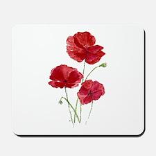 Watercolor Red Poppy Garden Flower Mousepad