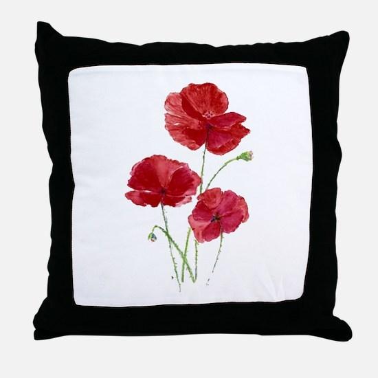 Watercolor Red Poppy Garden Flower Throw Pillow