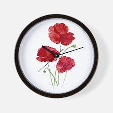 Watercolor Red Poppy Garden Flower Wall Clock