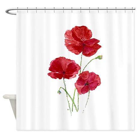 Watercolor Red Poppy Garden Flower Shower Curtain