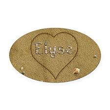 Elyse Beach Love Oval Car Magnet