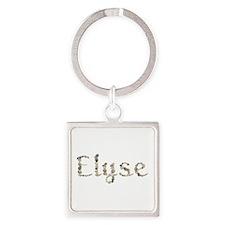 Elyse Seashells Square Keychain