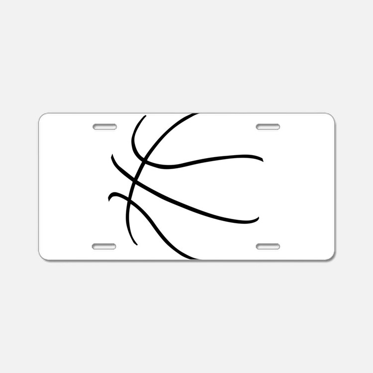 Basketball Ball Lines Black Aluminum License Plate