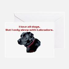 Sleep with Labradors Greeting Card