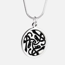 Cute Black irish Silver Round Necklace