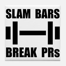 Slam Bars Break PRs Tile Coaster